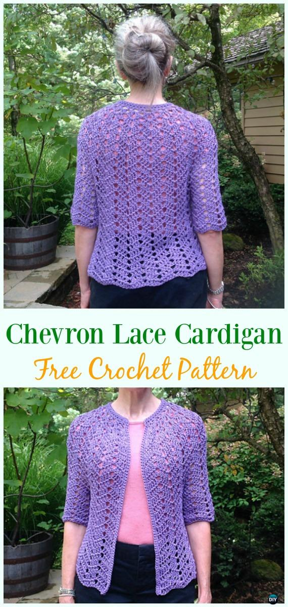 Crochet Chevron Lace Cardigan Free Pattern - Crochet Women Summer Jacket Cardigan Free Patterns