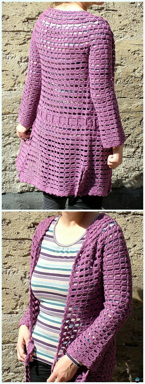 Crochet Pearl's Cardigan Free Pattern - Crochet Women Summer Jacket Cardigan Free Patterns
