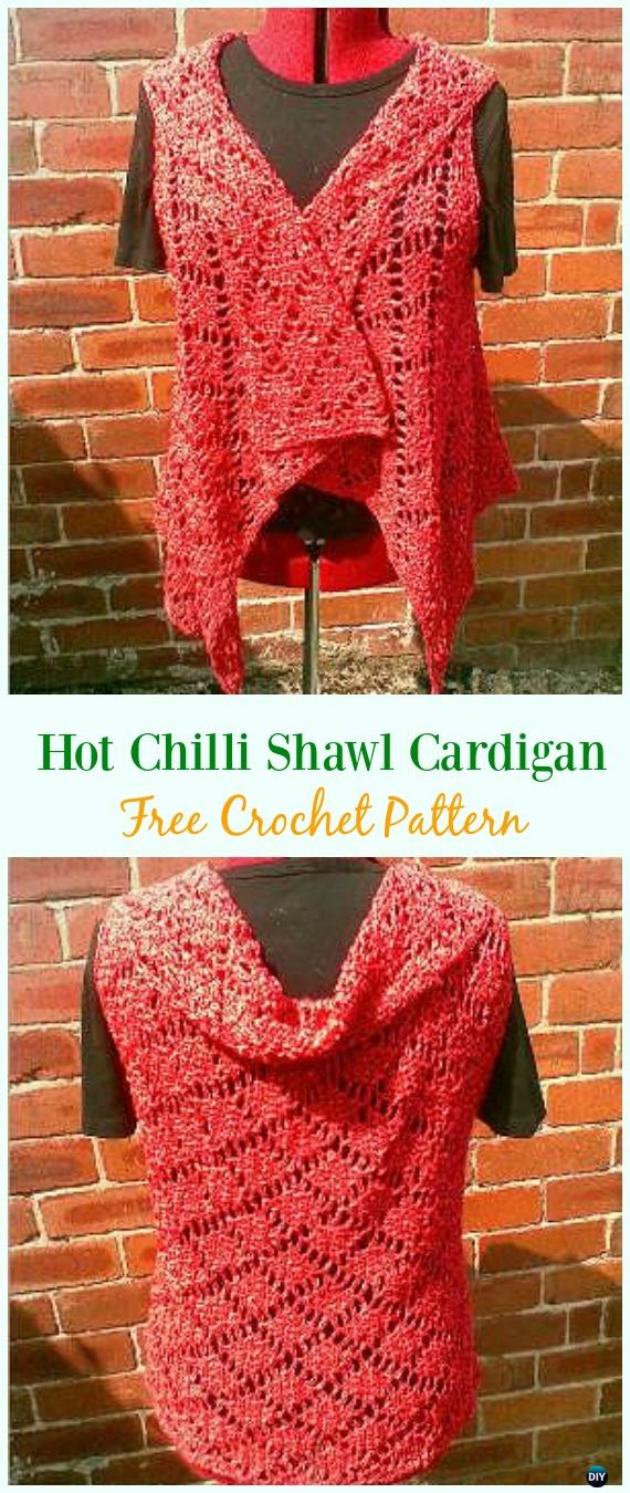 Crochet Hot Chilli Shawl Cardigan Free Pattern - Crochet Women Summer Jacket Cardigan Free Patterns