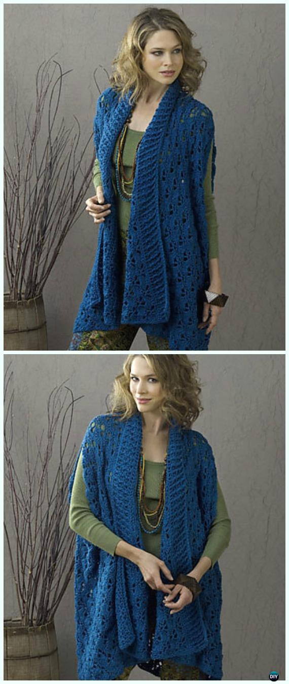 Crochet  Sherbrook Elongated Summer Jacket Free Pattern - Crochet Women Summer Jacket Cardigan Free Patterns