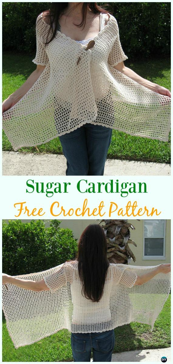 Crochet Sugar Cardigan Free Pattern - Crochet Women Summer Jacket Cardigan Free Patterns