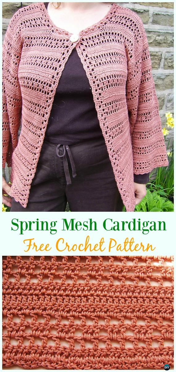 Crochet Spring Mesh Cardigan Free Pattern - Crochet Women Summer Jacket Cardigan Free Patterns
