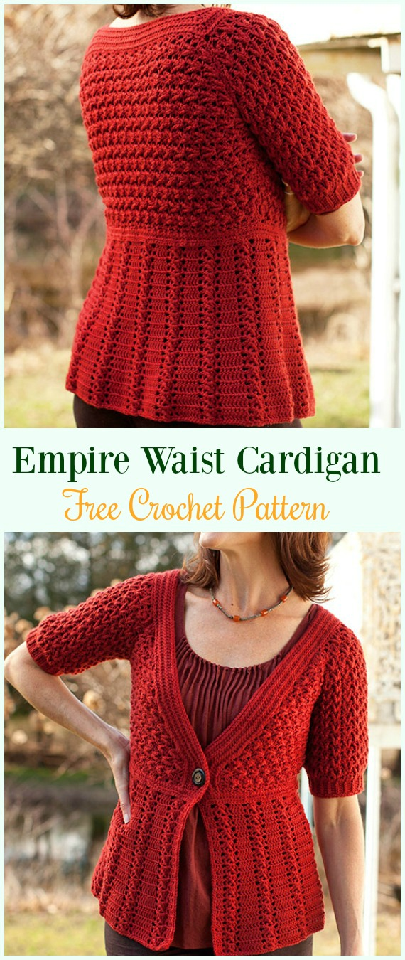 Crochet Azilal Empire Waist Cardigan Free Pattern - #Crochet Women Summer Jacket #Cardigan Free Patterns