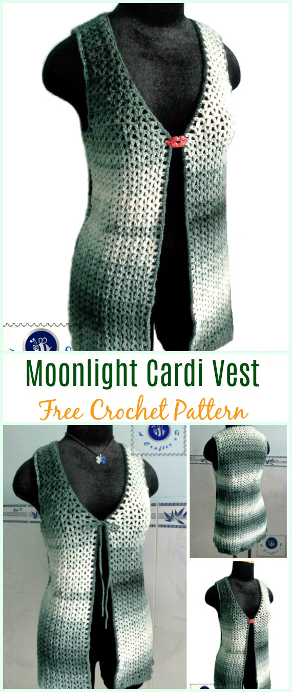 Crochet Moonlight Cardi Vest Free Pattern - Crochet Women Summer Jacket Cardigan Free Patterns