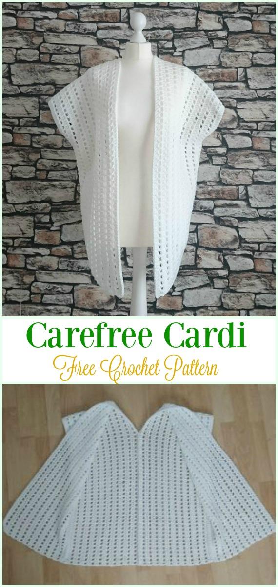 Crochet Carefree Cardi Free Pattern - #Crochet, Women Summer Jacket #Cardigan, Free Patterns