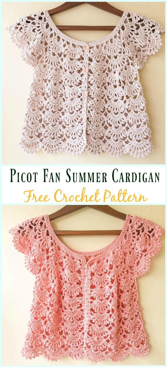 Picot Fan Summer Cardigan CrochetFree Pattern - #Crochet; Women Summer Jacket #Cardigan; Free Patterns