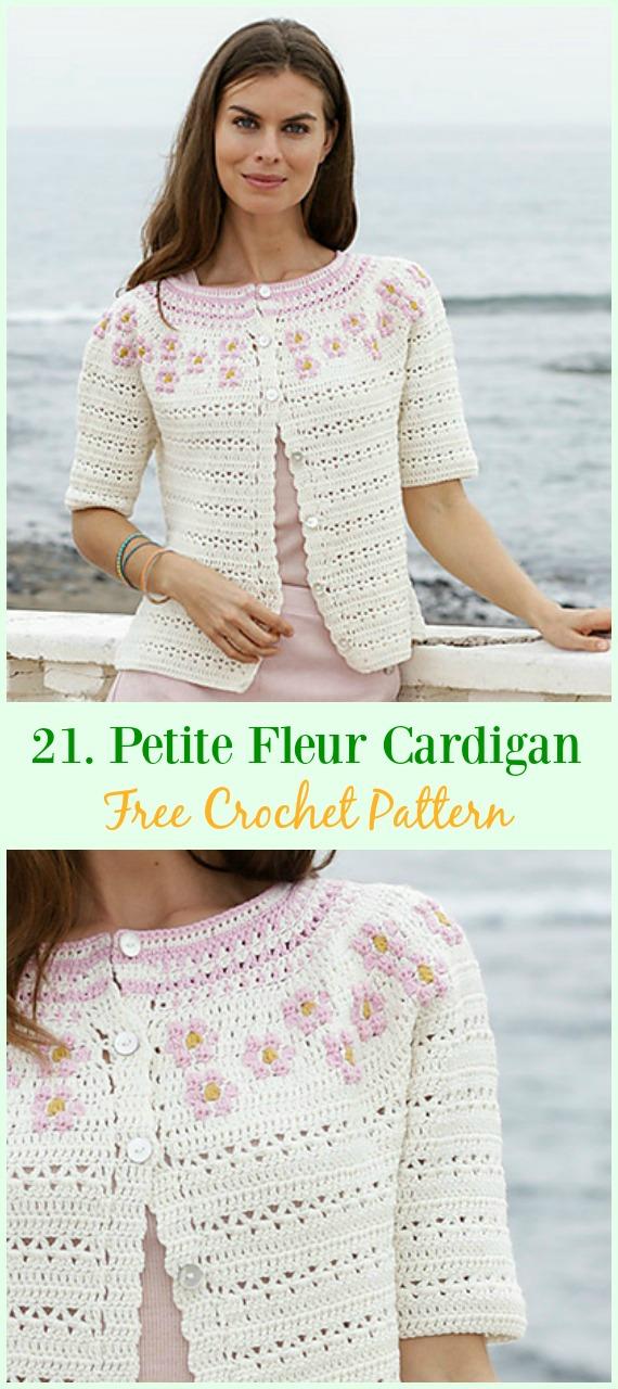 Petite Fleur Cardigan Free Crochet Pattern - #Crochet; Women Summer Jacket #Cardigan; Free Patterns