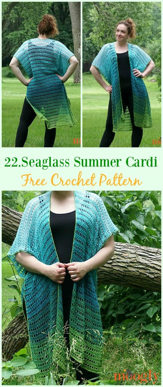 Seaglass Summer Cardigan Free Crochet Pattern - #Crochet; Women Summer Jacket #Cardigan; Free Patterns
