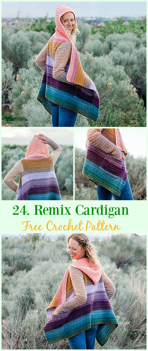Remix Cardigan Free Crochet Pattern - #Crochet; Women Summer Jacket #Cardigan; Free Patterns