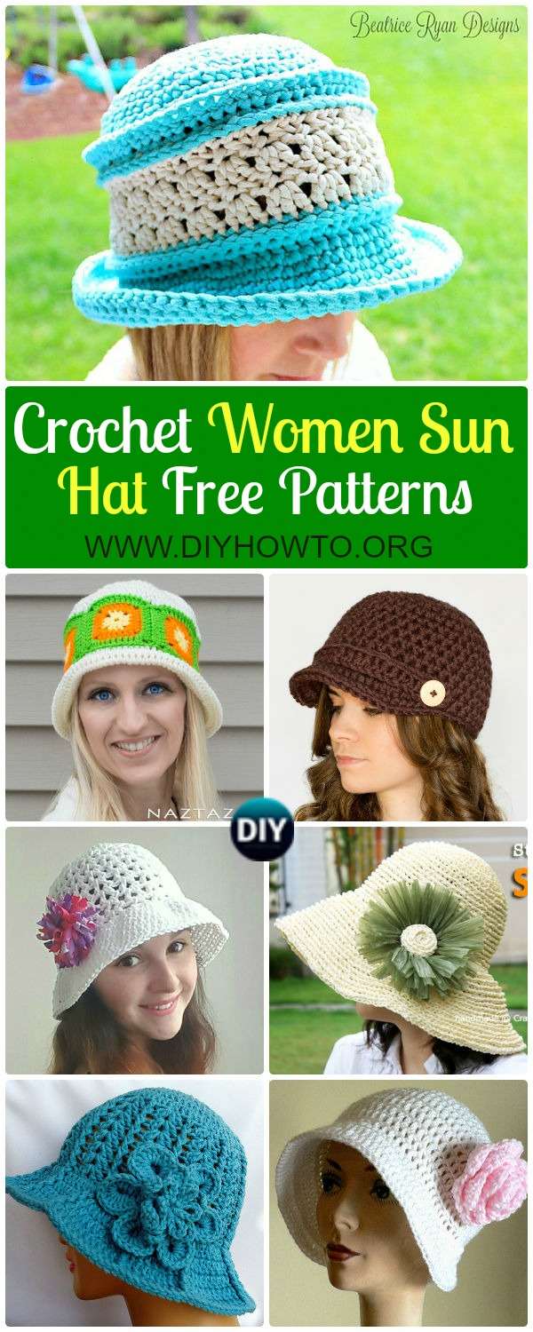 Collection of Crochet Women Sun Hat Free Patterns: Crochet adult brimmed Sun hat, ladies Summer hat, Flower Hat, Floppy hat, Cloche Hat