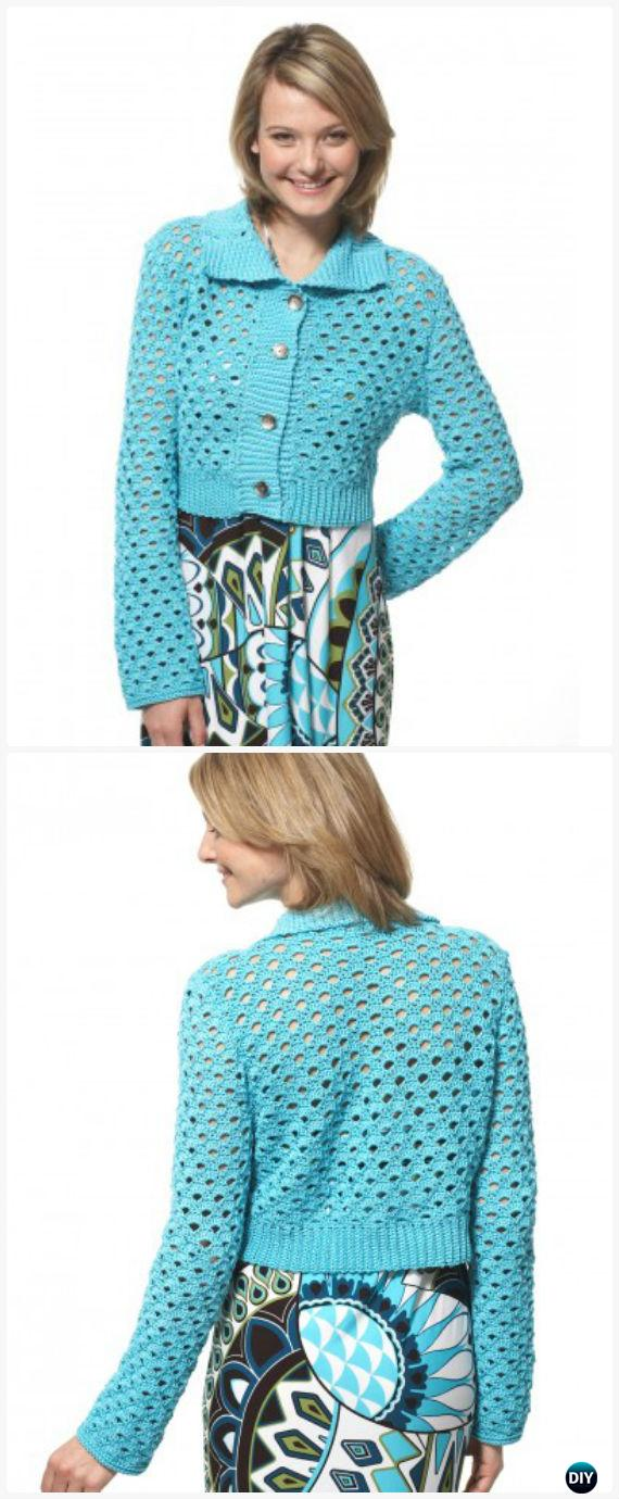 Crochet Scallop Mesh Jacket Free Pattern - Crochet Women Sweater Coat-Cardigan Free Patterns