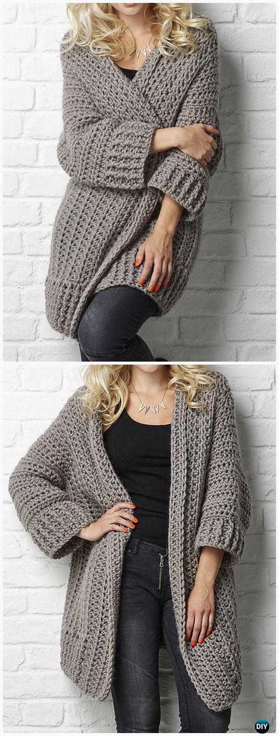 Crochet Big Chill cardigan Pattern - Crochet Women Sweater Coat-Cardigan Free Patterns