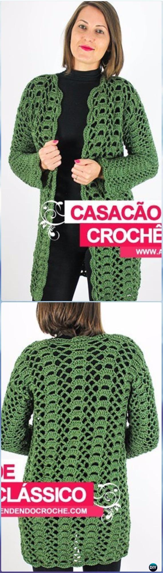 Crochet Women Sweater Coat Cardigan Free Patterns