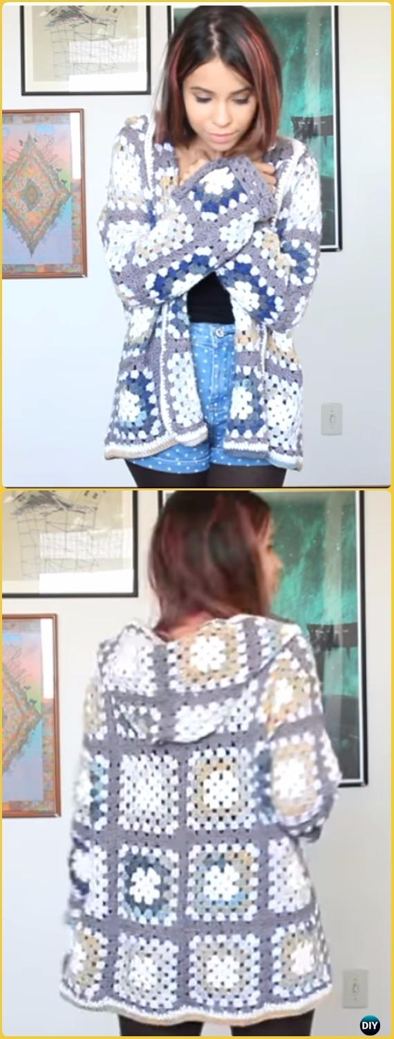 Crochet Granny Square Sweater Coat Free Pattern Video - Crochet Women Sweater Coat-Cardigan Free Patterns