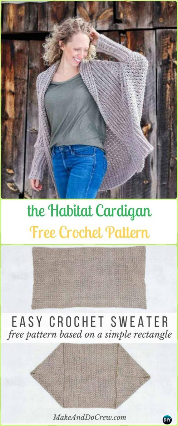 Crochet Habitat Cardigan From Rectangle Free Pattern Crochet Women