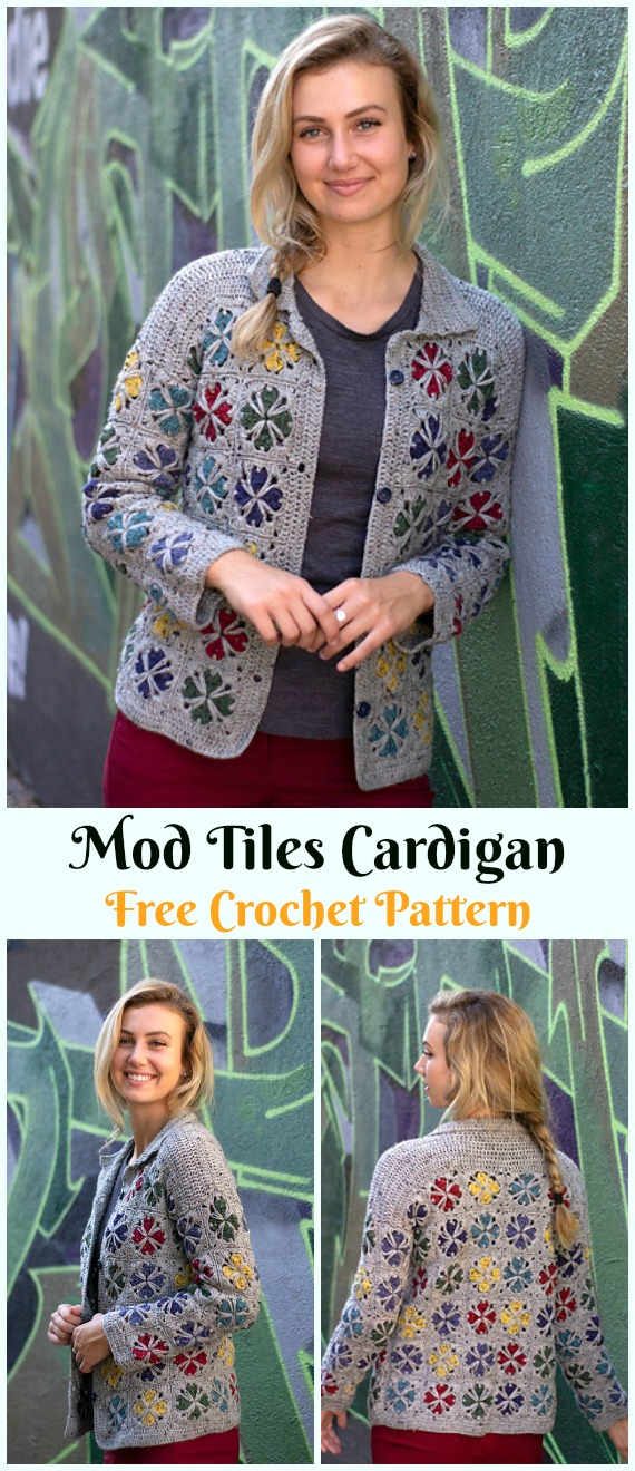 Mod Tiles Cardigan Crochet Free Pattern - #Crochet; Women Sweater Coat & #Cardigan; Free Patterns