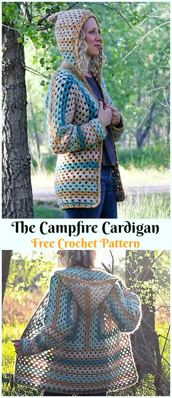 The Campfire Cardigan Crochet Free Pattern - #Crochet; Women Sweater Coat & #Cardigan; Free Patterns