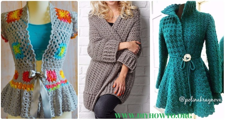 Crochet Women Sweater Coat Cardigan Free Patterns