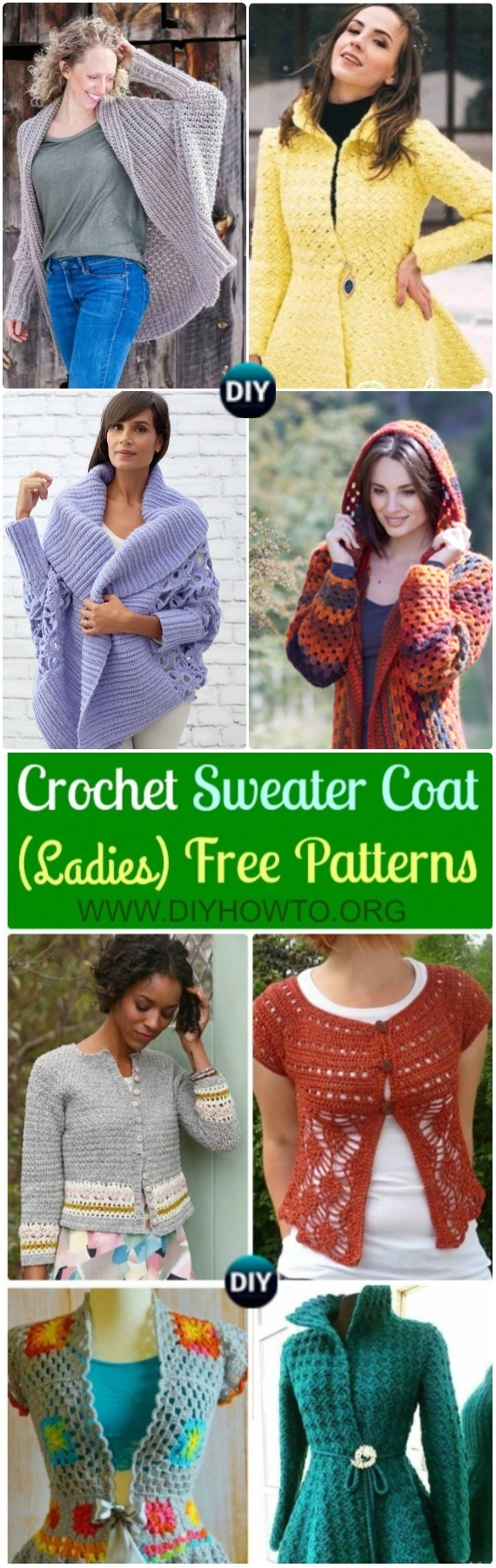 Crochet Women Sweater Coat Cardigan Free Patterns: Crochet Open Front Sweater Coat, Button Up Sweater Coat, Zip Up Sweater Cardigan