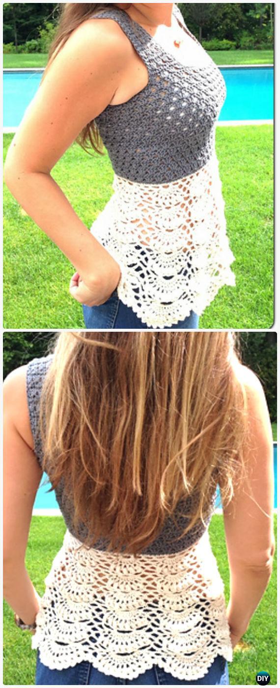 Crochet Ballerina Top Free Pattern - Crochet Women Pullover Sweater Free Patterns
