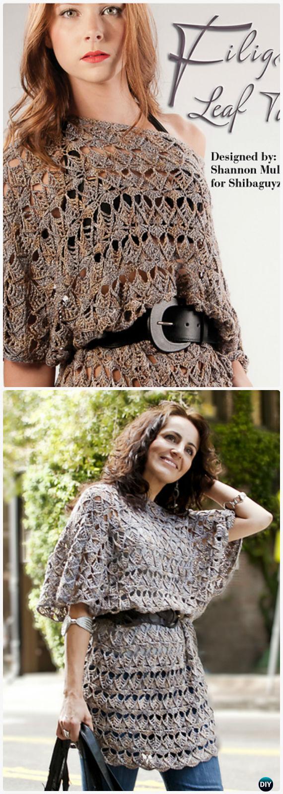 Crochet Filigree Leaf Tunic Free Pattern - Crochet Women Pullover Sweater Free Patterns