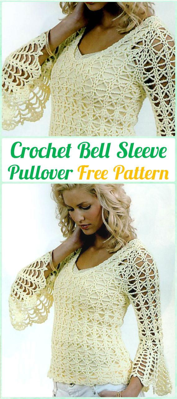 Crochet Bell Sleeve Pullover Summer Top Free Pattern Crochet Women
