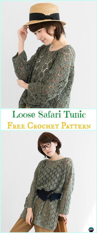 Crochet Loose Safari Tunic Free Pattern Crochet Women Sweater