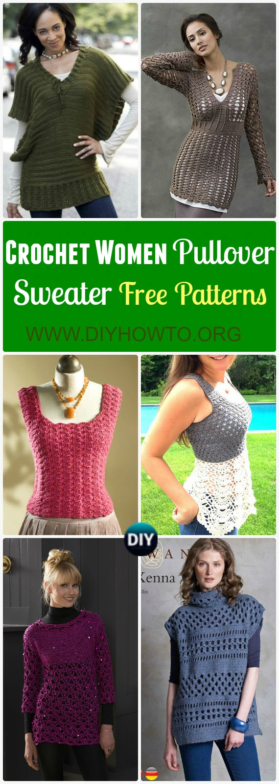 A collection of crochet women fashions: Crochet Women Pullover Sweater, tops and tunics free patterns