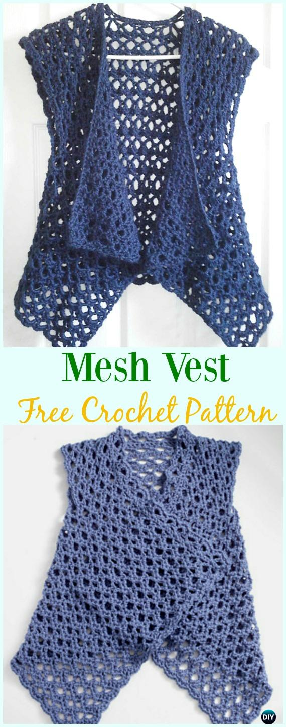 Crochet Women Vest Free Patterns Spring Summer Sweater Outwear