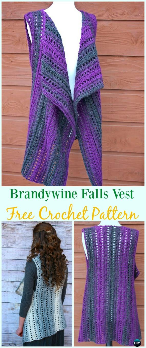 Crochet Brandywine Falls Vest Free Pattern - #Crochet; Women #Vest; Free Patterns
