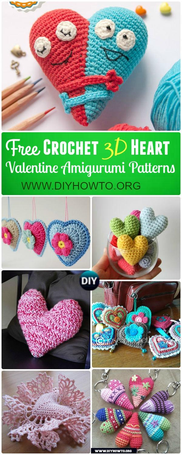 Amigurumi Crochet 3D Heart Free Patterns