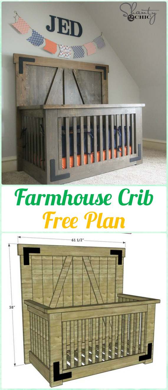 DIY Farmhouse Crib Instruction - DIY Baby Crib Projects [Free Plans]