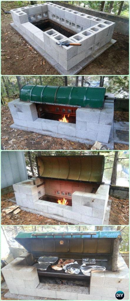 DIY Cinder Block Large Rotisserie Pit BBQ Grill Instruction - DIY Backyard Grill Projects