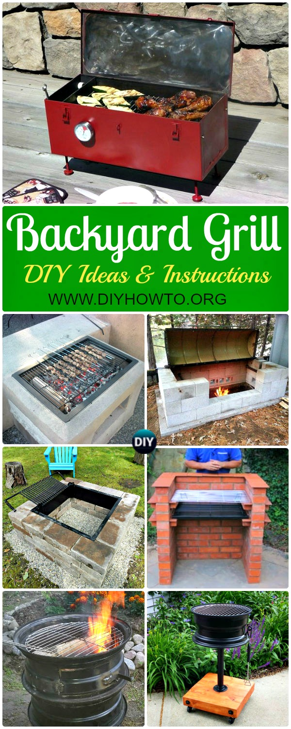 Collection of DIY Backyard BBQ Grill Projects Instructions: DIY Brick Grill, Concrete Grill, Car Rim Grill, Metal Drum Grill, BBQ Grill on Budget