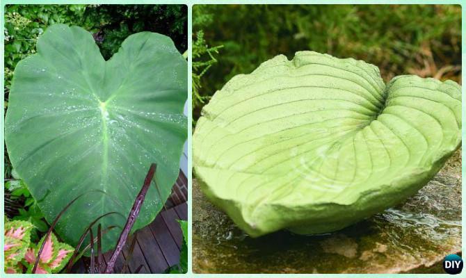 DIY Concrete Elephant Ear Leaf Birdbath Instruction-DIY Leaf Garden Projects