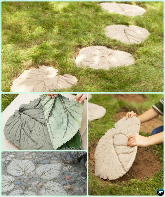 DIY Concrete Leaf Stepping Stone Instruction-DIY Big Rhubarb Leaf Garden Projects
