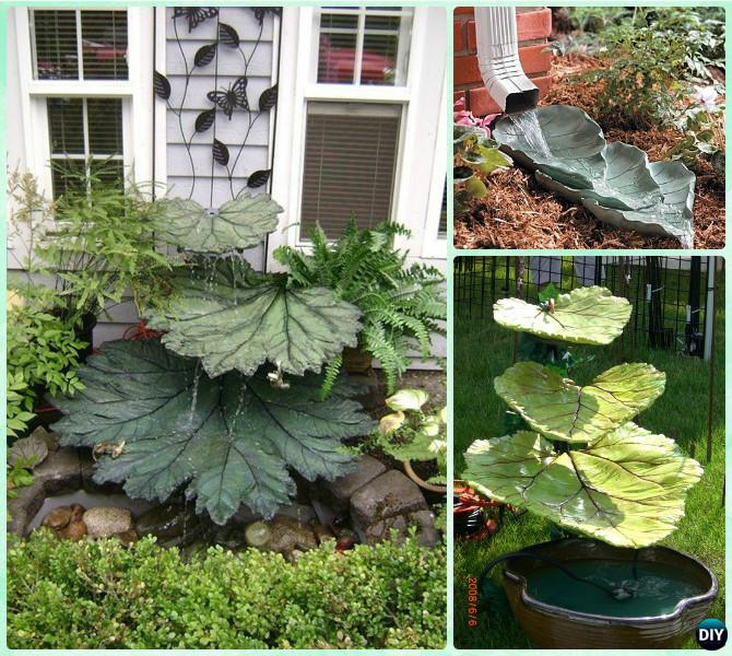 Concrete Leaf Garden Fountain Instruction-DIY Big Rhubarb Leaf Garden Projects