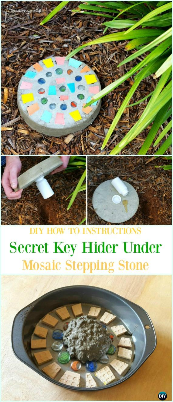DIY Mosaic Stepping Stone with Secret Key Hider Instruction-DIY Cake Pan Stepping Stones Garden Path Projects