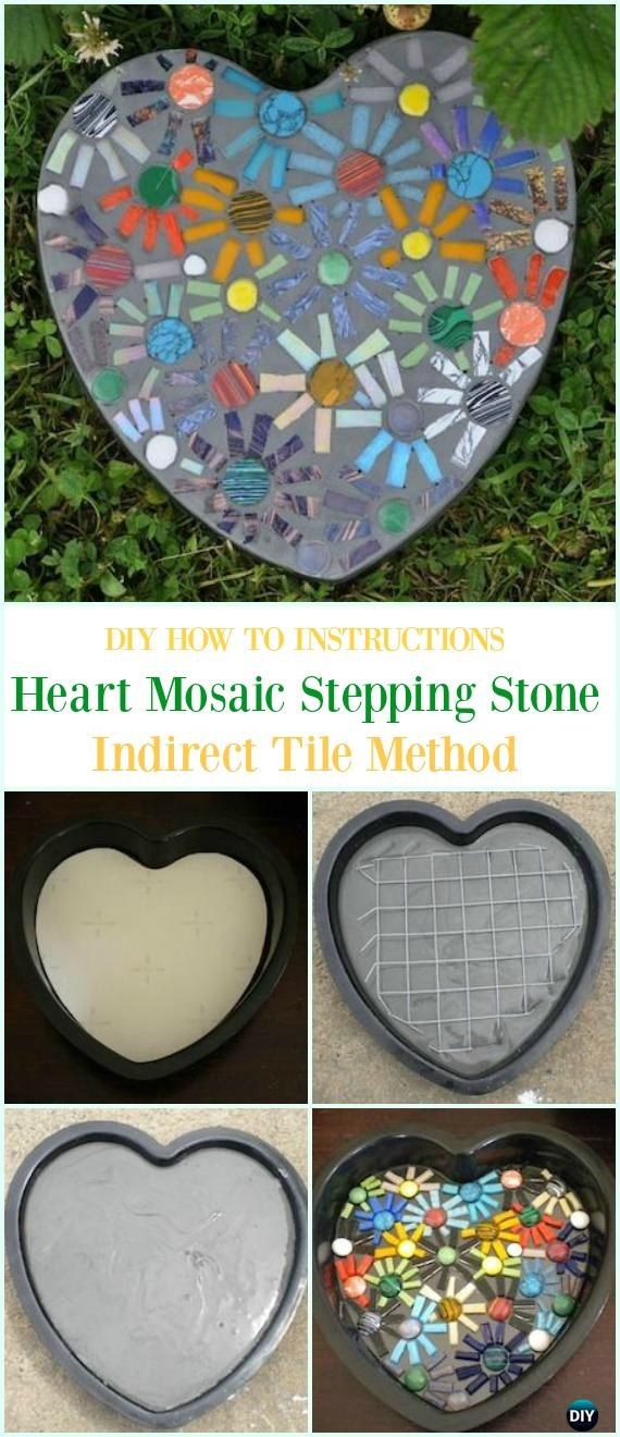 DIY Indirect Heart Mosaic Stepping Stone Instruction- DIY Cake Pan Stepping Stones #Garden Path Projects