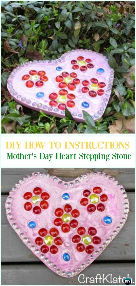 DIY Mother's Day Pink Heart Stepping Stone Instruction-DIY Cake Pan Stepping Stones #Garden Path Projects