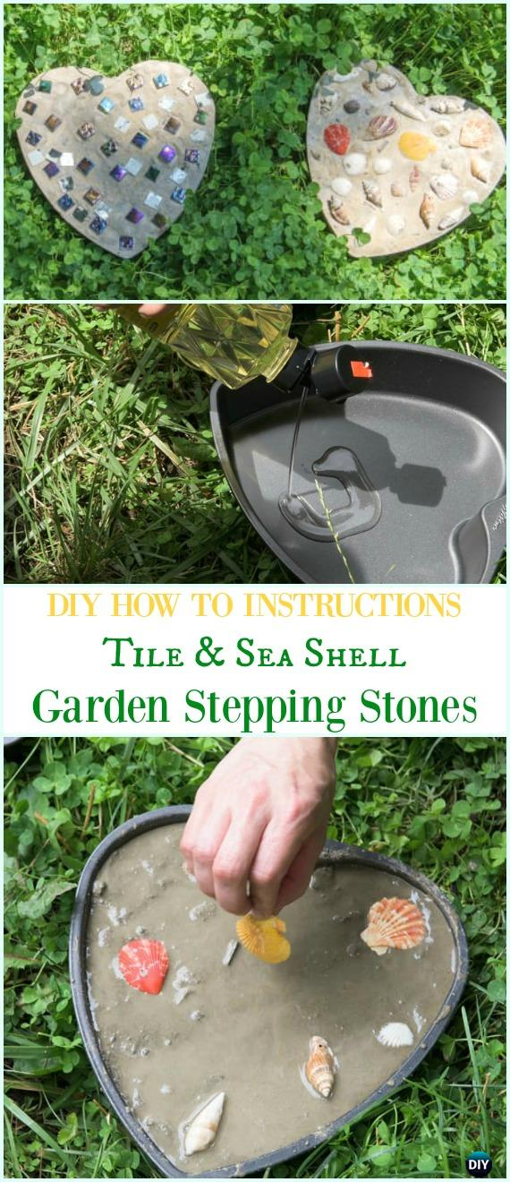 DIY Tile and Seashell Heart Stepping Stone Instruction-DIY Cake Pan Stepping Stones #Garden Path Projects