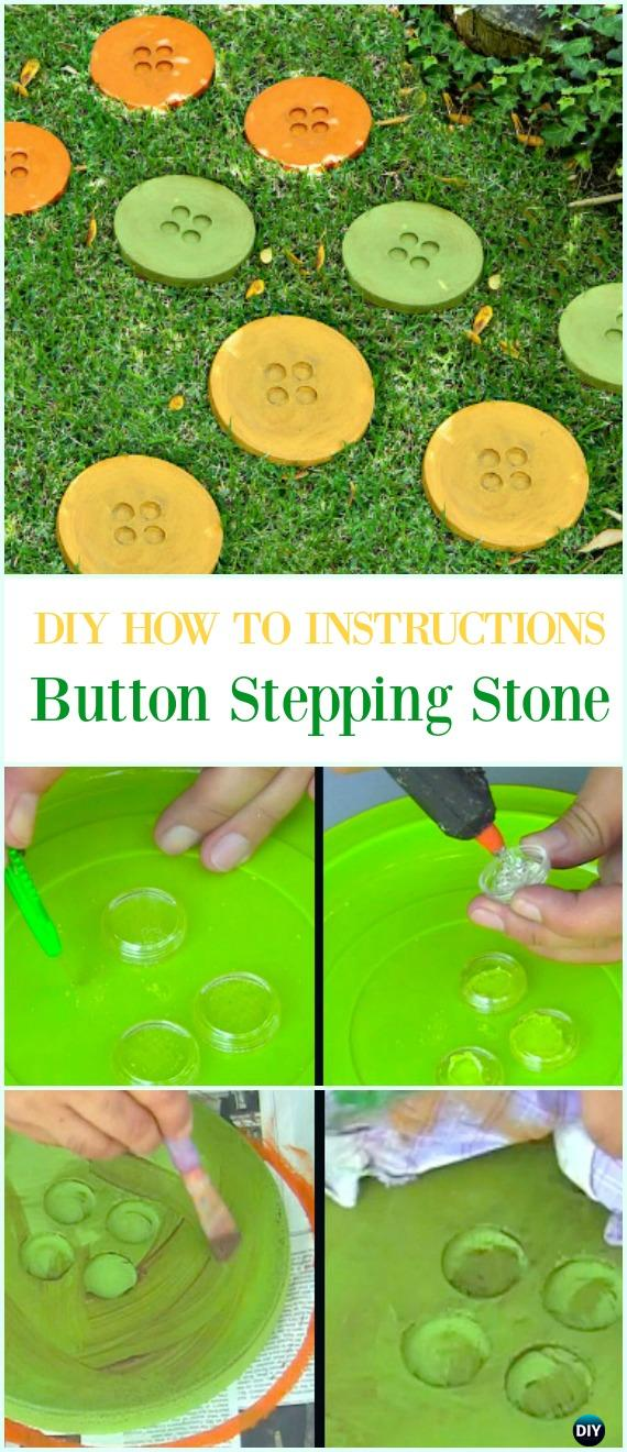 DIY Button Stepping Stone Instruction- DIY Cake Pan Stepping Stones #Garden Path Projects
