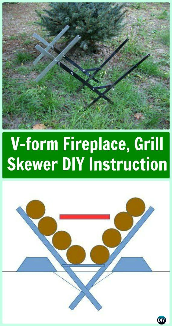 DIY V-form Fireplace, Grill Skewer in One Instruction - DIY Camp Grill Projects