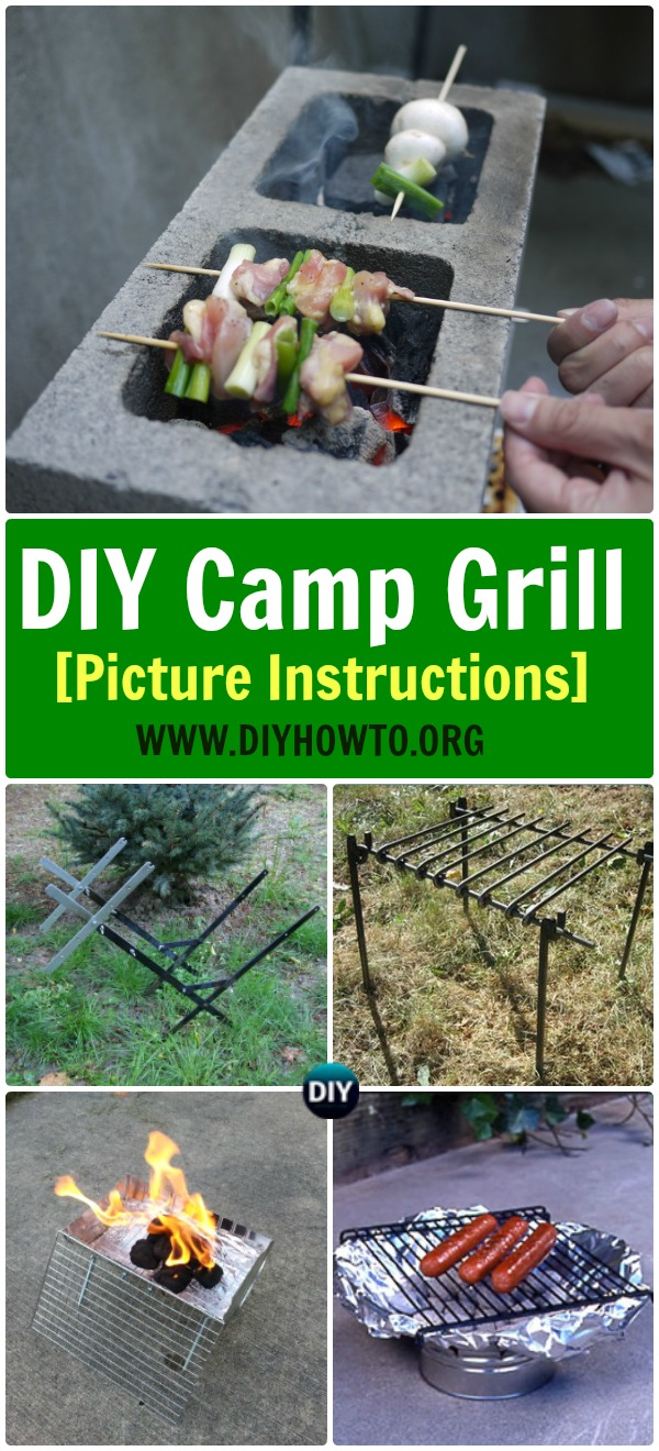 Collection of DIY Camp Grill Projects [Picture Instructions]: Metal Frame Grill, Cinder Block Grill, Tin Can Grill, Easy Portable Grill for Camping