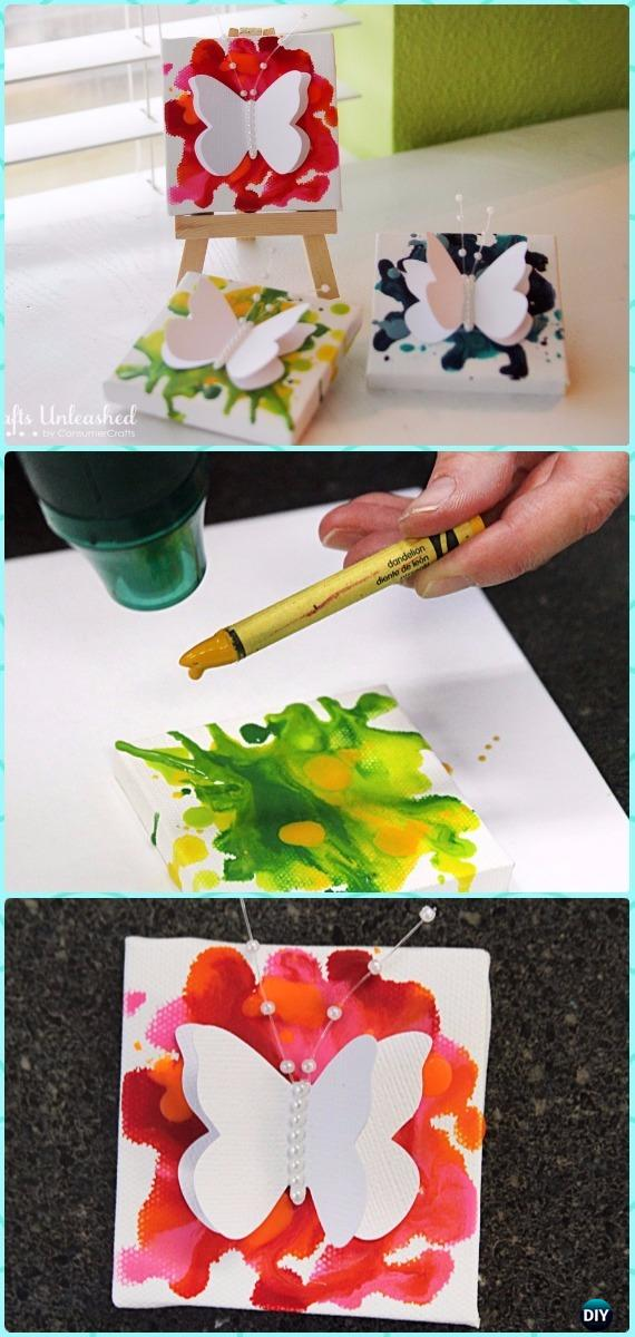 DIY Mini Butterfly Crayon Art Canvas Instruction - DIY Canvas Wall Art Ideas Tutorials