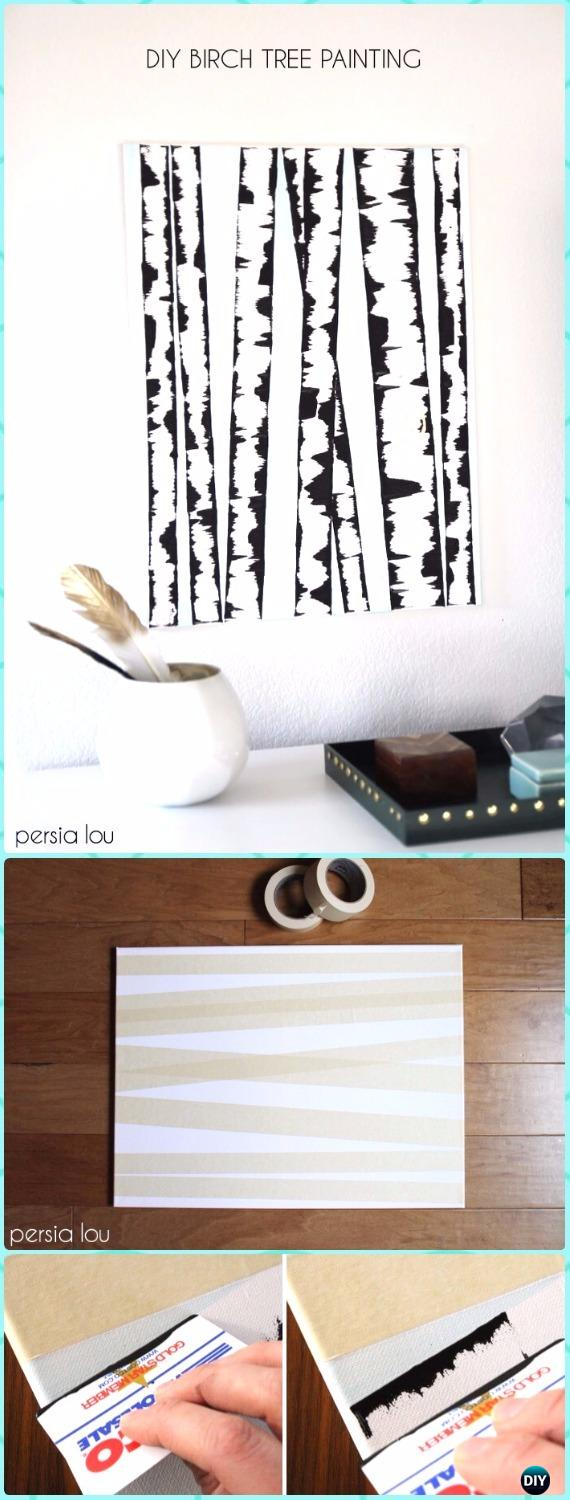 DIY Birch Tree Wall Art Canvas Instruction - DIY Canvas Wall Art Ideas Tutorials