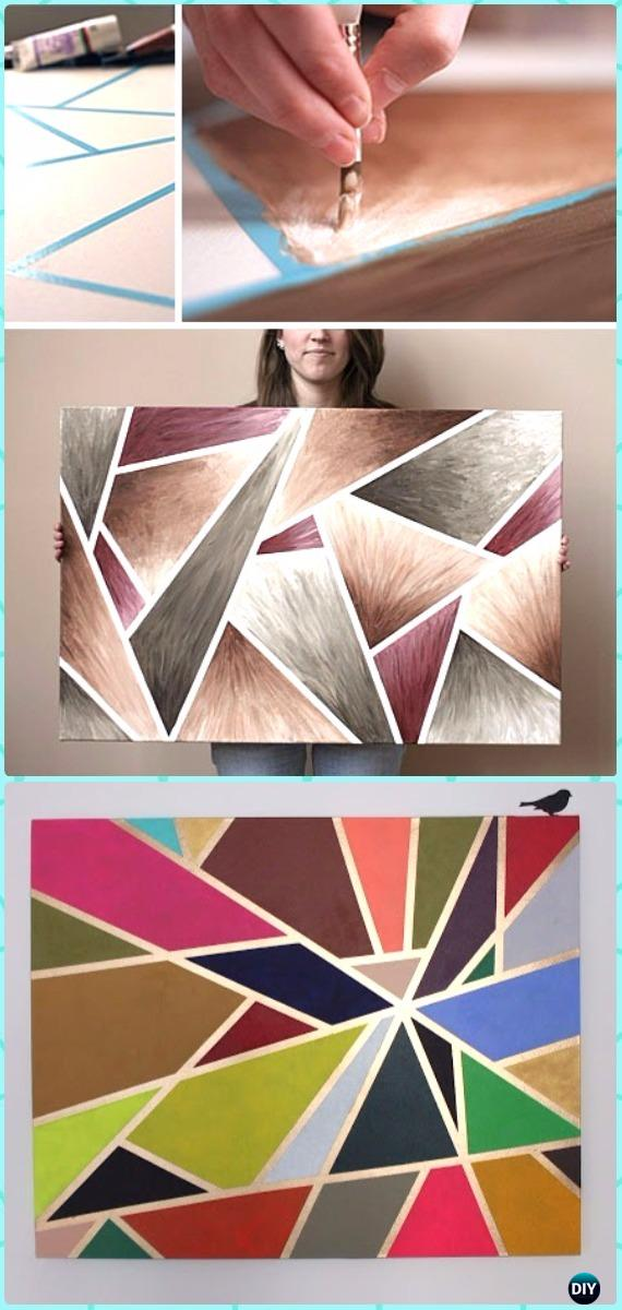 DIY Geometric Tape Painting Canvas Art Instruction - DIY Canvas Wall Art Ideas Tutorials