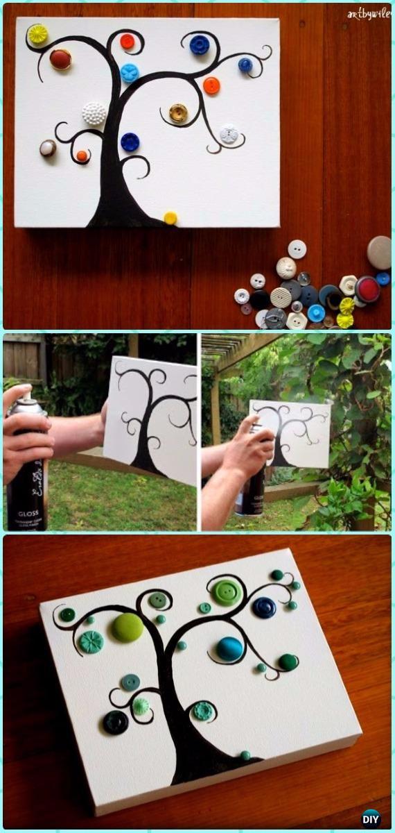 DIY Glossy Button Tree Canvas Wall Art Instruction - DIY Canvas Wall Art Ideas Tutorials