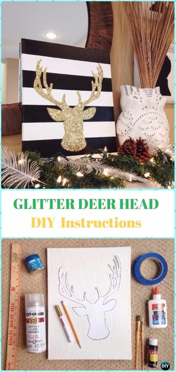 DIY Glitter Deer Head Canvas Instruction - DIY Canvas Wall Art Ideas Tutorials