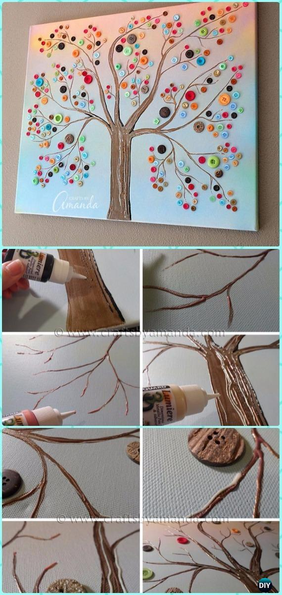 DIY Vibrant Button Tree on Canvas Instruction - DIY Canvas Wall Art Ideas Tutorials